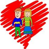 Una coppia in mani della tenuta di amore illustrazione di stock