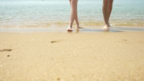 Una coppia sta camminando lungo la spiaggia un chiaro giorno soleggiato Si tengono per mano e baciano i piedi di camminata delle  video d archivio