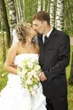 Una coppia sul loro giorno delle nozze Fotografia Stock
