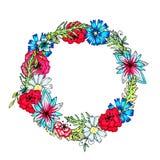 Una corona rotonda del fiore delicato Modello per le cartoline d'auguri di estate e della primavera royalty illustrazione gratis