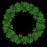 Una corona rotonda del pino verde si ramifica per il Natale Immagini Stock