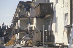 Una costruzione di appartamento distrussa Fotografia Stock Libera da Diritti