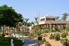 Una costruzione di pietra bianca con le colonne nello stile latino messicano contro lo sfondo delle piante verdi tropicali esotic fotografie stock libere da diritti
