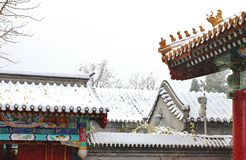 Una costruzione nella Città proibita in neve Fotografia Stock