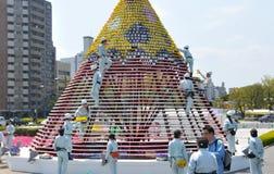 Una creación de las personas para el festival de la flor de Hiroshima Fotos de archivo