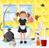 Una criada Cleaning Dirty Bathroom ilustración del vector