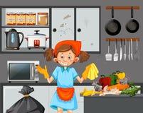 Una criada Cleaning Dirty Kitchen stock de ilustración