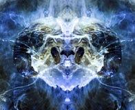 Una criatura extranjera que se asemeja a un espolón, en tonos azules Tinta y pintura en el agua Una imagen reflejada de un bolso  fotografía de archivo