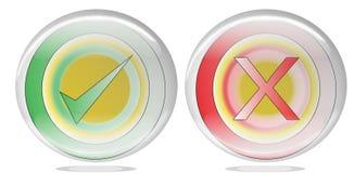 Una croce rossa e un segno di spunta verde come icona del falce e vera Immagini Stock