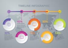 Una cronologia infographic dell'illustrazione di vettore di cinque opzioni Fotografia Stock Libera da Diritti