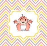 Una cubierta divertida de la fiesta de bienvenida al bebé Imágenes de archivo libres de regalías