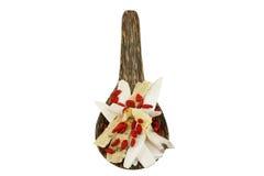 Una cuchara de madera por completo de hierbas médicas chinas Fotografía de archivo libre de regalías