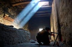 Una cucina monastry tibetana Fotografie Stock Libere da Diritti
