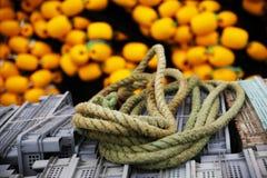 Una cuerda en un barco pesquero con el fondo amarillo fotografía de archivo