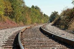 Una curva en las pistas de ferrocarril Foto de archivo