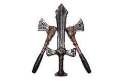 Una daga y dos hachas aisladas Foto de archivo libre de regalías
