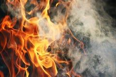 Una danza ritual del fuego y del humo contra un fondo de la hierba verde Tres elementos Fotos de archivo libres de regalías