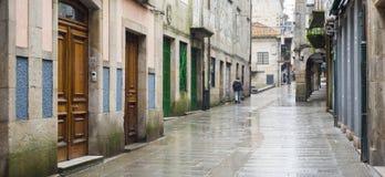 Una de las calles de la ciudad histórica de Pontevedra Fotografía de archivo libre de regalías