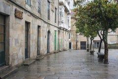 Una de las calles de la ciudad histórica de Pontevedra Imagenes de archivo