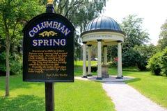 Una de varias primaveras minerales descubiertas en Saratoga Springs, Nueva York, 2015 Foto de archivo