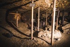 Una delle camere in una miniera d'argento, Tarnowskie sanguinoso, sito di eredità dell'Unesco Fotografia Stock