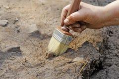 Una delle fasi dello scavo immagine stock