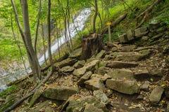Una delle molte cascate pericolose dalla traccia di cadute di Crabtree fotografia stock libera da diritti