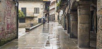 Una delle vie della città storica di Pontevedra Fotografia Stock Libera da Diritti