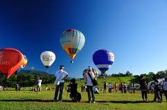 Una demostración del globo de aire caliente en Taitung en Taiwán Foto de archivo