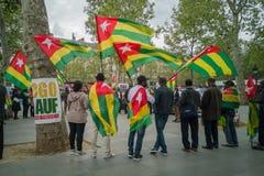 Una demostración grande de la diáspora togolesa ocurrió en París Fotografía de archivo libre de regalías
