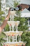 Una diapositiva del champán Pirámide de los vidrios del champán con las cerezas rojas Fotografía de archivo