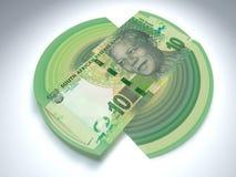 Una diffusione sudafricana di dieci bordi del denaro contante fotografie stock