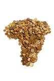 Una disposizione delle monete sudafricane sotto forma dell'Africa Fotografie Stock Libere da Diritti