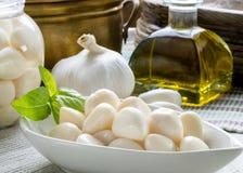 Una disposizione di aglio con il contorno Fotografia Stock