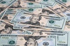 Una disposizione di venti fatture del dollaro fotografie stock libere da diritti