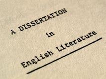 Una dissertazione in letteratura inglese Immagine Stock Libera da Diritti