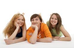 Una distensione dei tre amici Fotografie Stock