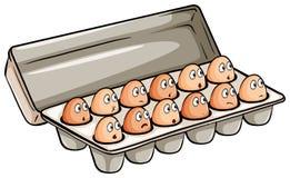 Una docena de huevos stock de ilustración