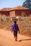 Una donna africana che porta una scatola di cartone sulla sua testa Immagini Stock Libere da Diritti