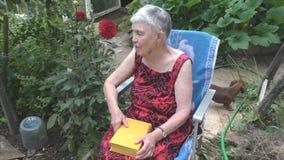 Una donna anziana si siede in una sedia sulla natura archivi video