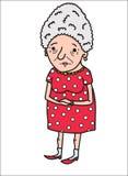 Una donna anziana in un vestito rosso Fotografie Stock Libere da Diritti