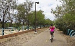 Una donna Bikes la pista ciclabile di aviazione, Tucson Fotografia Stock