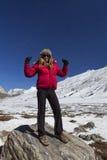 Donna ad allo zero assoluto nel Sikkim. Fotografia Stock
