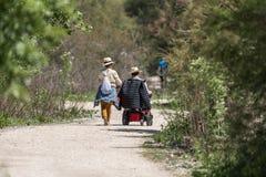 Una donna cammina con un uomo in sedia a rotelle di natura fotografia stock