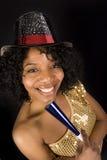 Una donna celebra la vigilia di nuovi anni Fotografia Stock Libera da Diritti