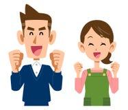 Una donna con il grembiule dell'ente superiore di una giovane coppia piacevole illustrazione di stock