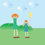 Una donna con un bambino o una madre e una figlia Fotografia Stock