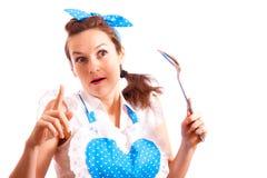 Una donna con un cucchiaio Immagine Stock Libera da Diritti
