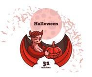 Una donna del vampiro sta tenendo una zucca illustrazione di stock