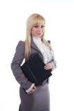 Una donna dell'allievo con il dispositivo di piegatura nero Fotografia Stock
